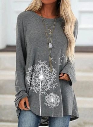 floral casual round neckline long sleeve blouses  eoschoice